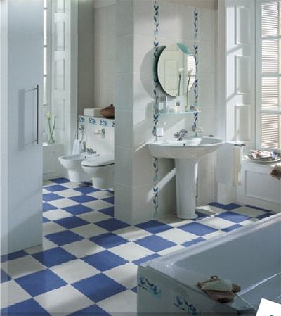 Особенно хорошо плитка смотрится в ванной
