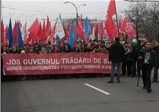 Демонстрация на центральной площади Кишинева 22-го ноября