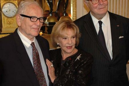 Пьер Карден с женой, актрисой Жанной Моро