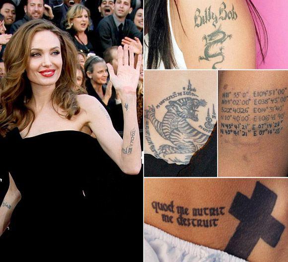 Анджелина Джоли: фото татуировок
