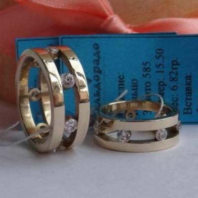 Кольца из желтого золота с бриллиантами