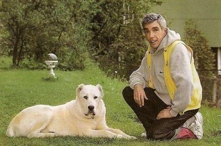 TV host Yuri Nikolaev with his beloved Central Asian Shepherd