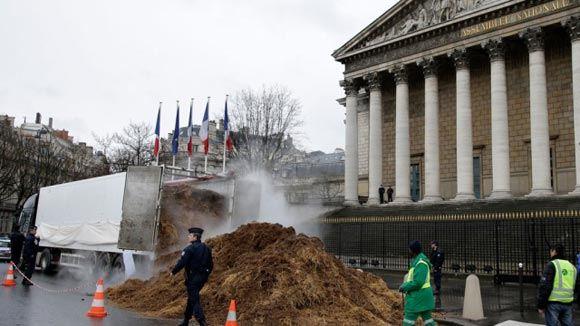 Француз выгрузил грузовик с навозом перед Бурбонским дворцом