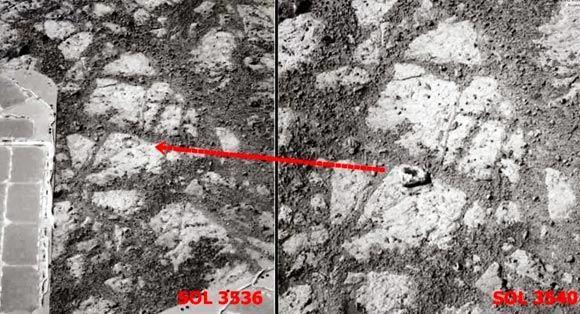 Ученые не нашли точной причины появления камня рядом с марсоходом Opportunity