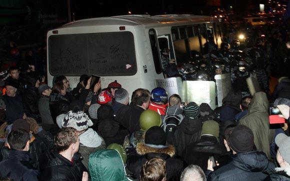 В столице Украины снова начались столкновения с полицией