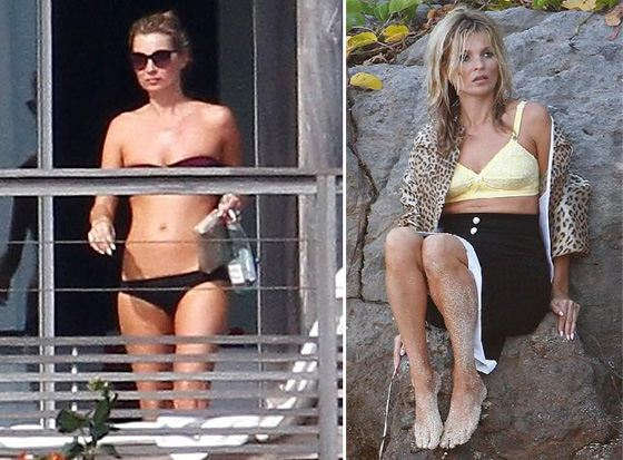Kate Moss is resting and working in the Caribbean.