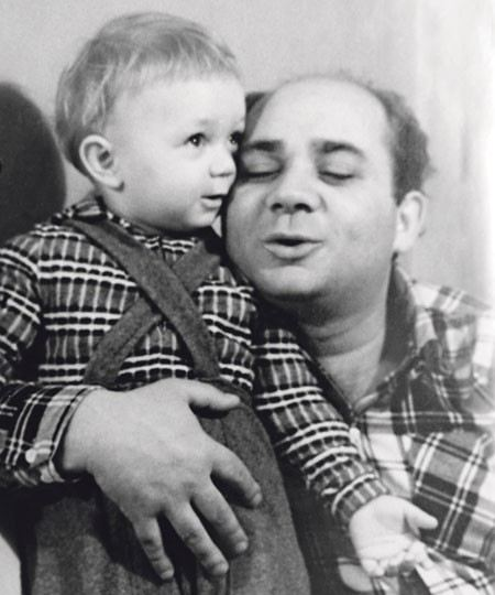 Andrei Leonov in childhood with his father Yevgeny Leonov