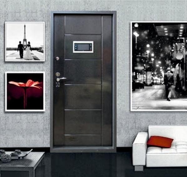 стальная дверь в квартиру со встроенным домофоном