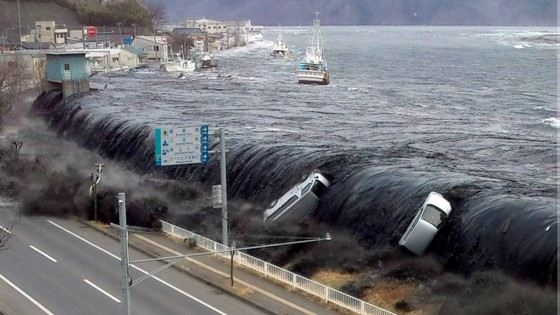 Tsunami on the coast of Japan