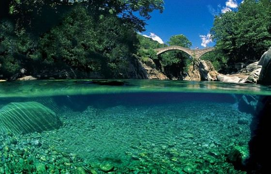 The amazingly clear river Verzaska is located in Switzerland.