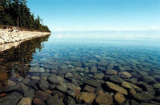 В озере Байкал чистая и прозрачная вода
