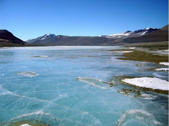 Соленое озеро Вида в Антарктиде
