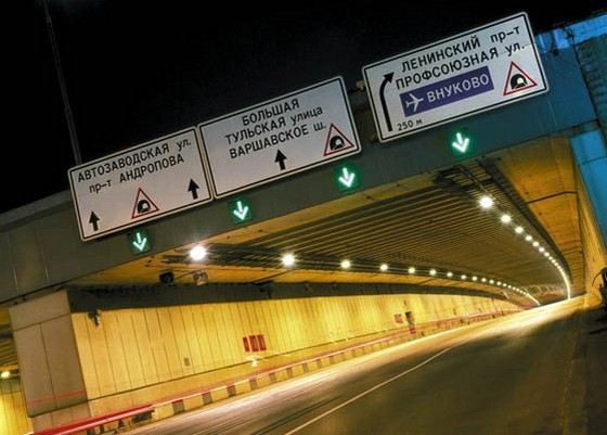 Lefortovo tunnel in Moscow has a length of more than 2 km