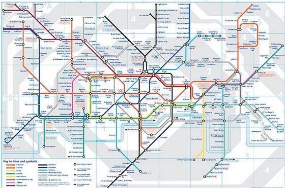 Современная карта самого старого в мире лондонского метро