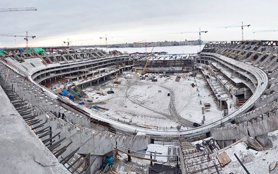 Знаменитый стадион «Зенит-Арена» - в процессе строительства