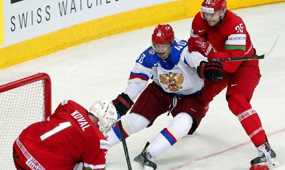 Российские хоккеисты обыграли Белоруссию на ЧМ в Минске