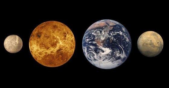 Venus and Earth have similar dimensions.