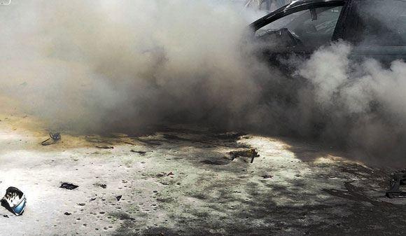 В центре украинской столицы взорвался автомобиль Infiniti