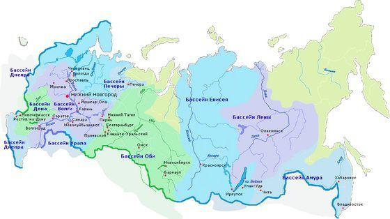 Бассейны самых значимых российских рек