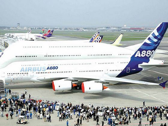 Airbus A380 capacity without business class can be up to 853 people