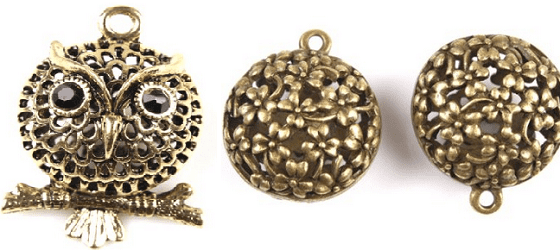 3D Сова и 3D Бал цветов - подвески из античного сплава бронзы