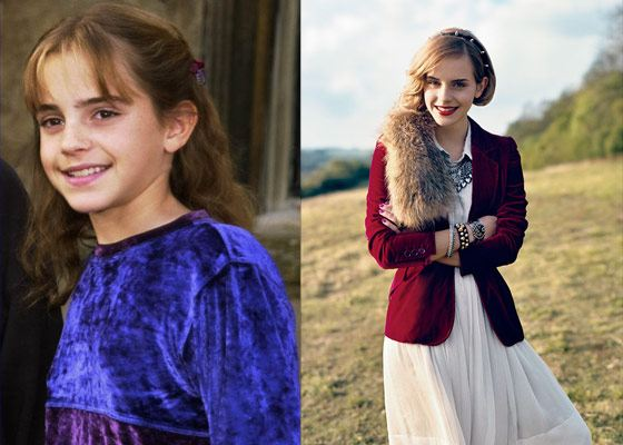 Emma Watson in her childhood and now