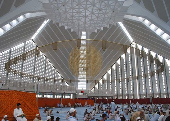 The interior of the Shah Faisal Mosque
