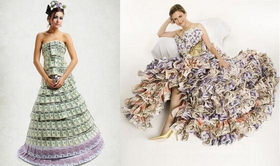 Необычные свадебные платья из денег
