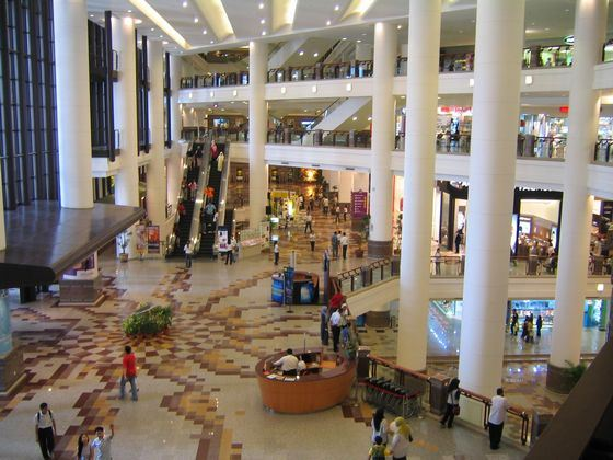 Spacious hall of the huge shopping center New South China Mall