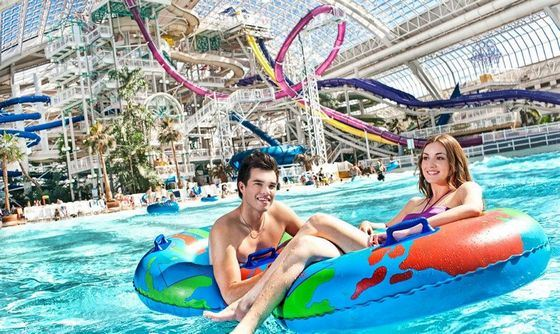 Inside the huge West Edmonton Mall there is an amusement park.
