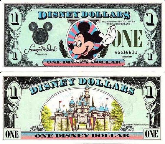 Веселые банкноты - доллары Диснея
