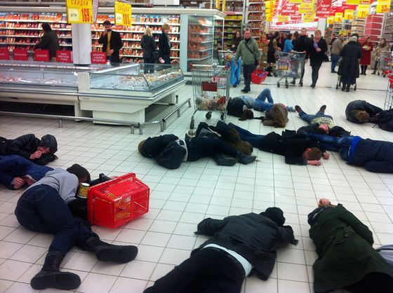 Flashmob in the supermarket AUCHAN