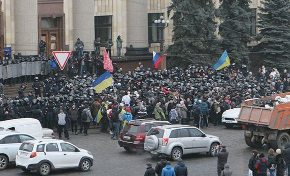 Pro-Russian rally in Kharkov, spring of 2014
