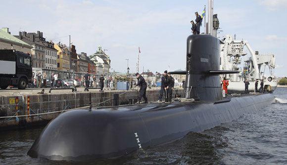 Шведская подводная лодка в Стокгольме