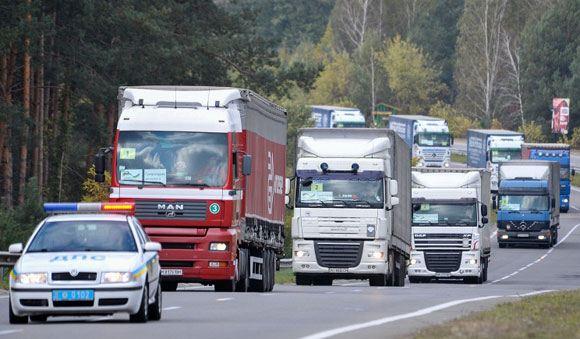 Немецкий гуманитарный конвой на территории Украины
