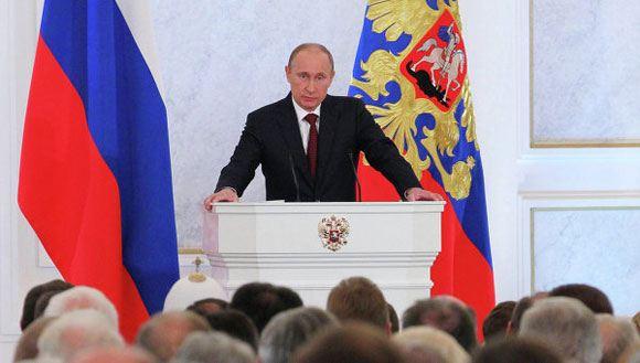 Владимир Путин выступает перед Федеральным собранием, март 2014 года