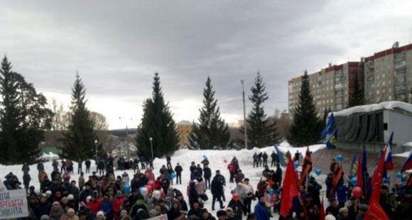 Пикет уволенных рабочих Златоустовского электрометаллургического завода, март 2014-го