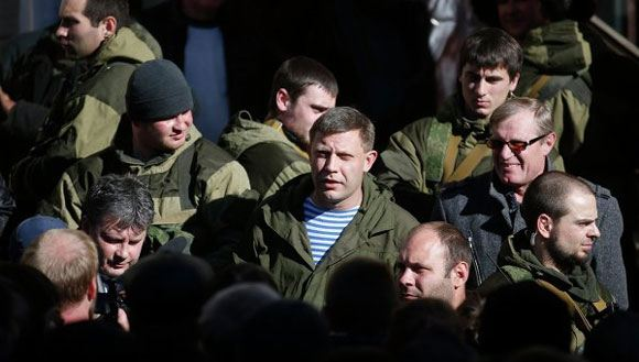 Head of the DPR Alexander Zakharchenko and his bodyguards