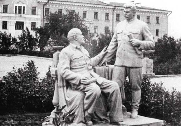 Although the Communists set up 15 monuments to Stalin in the country