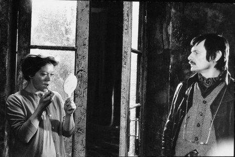 "Alisa Freindlich and Andrei Tarkovsky on the set of ""Stalker"""