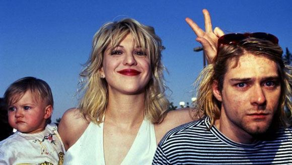 Kurt Cobain, Courtney Love and their daughter
