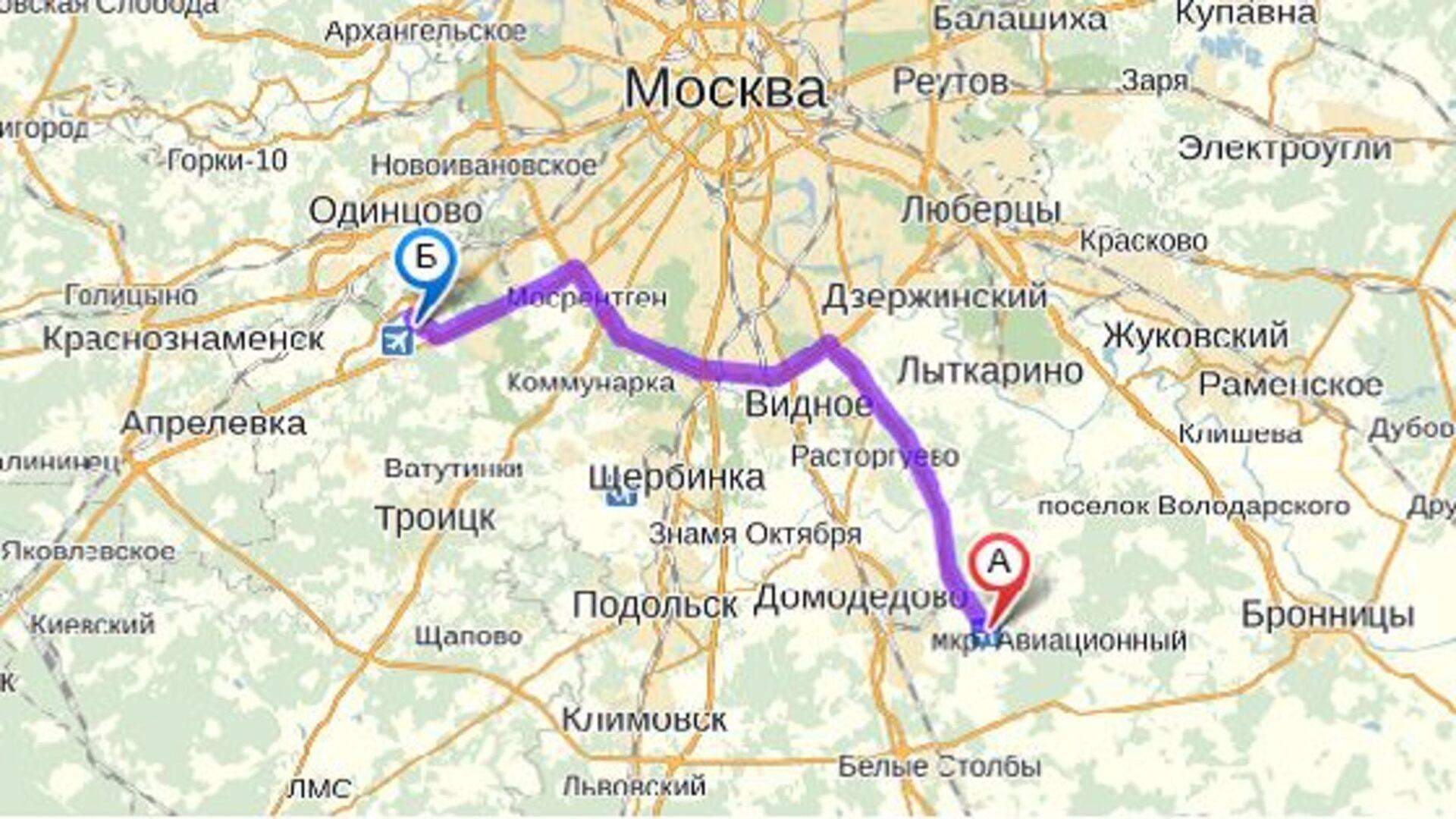 Путь из Внуково в Домодедово