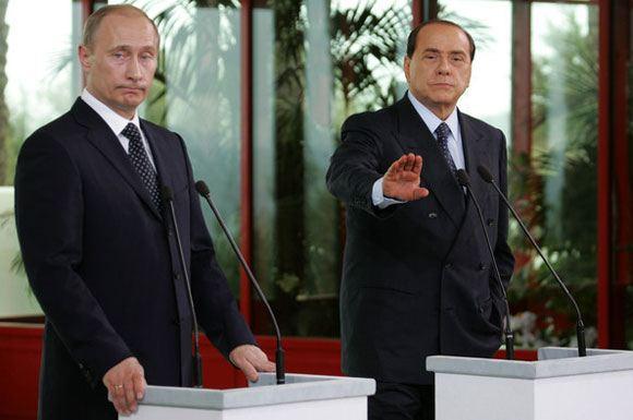 Владимир Путин на встрече с Сильвио Берлускони