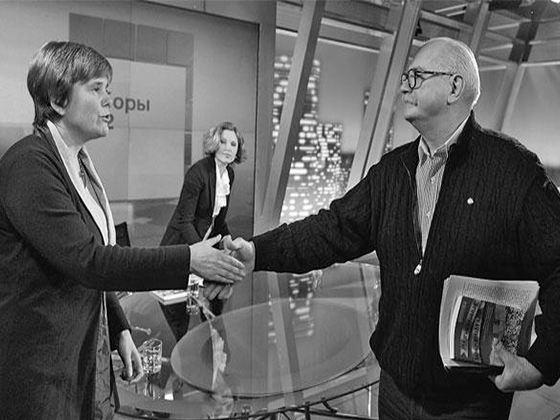 Ирина Прохорова на дебатах с доверенным лицом Владимира Путина Никитой Михалковым