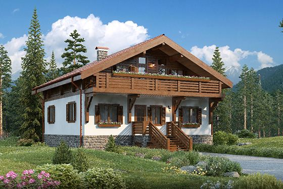 Загородный дом в стиле альпийского шале