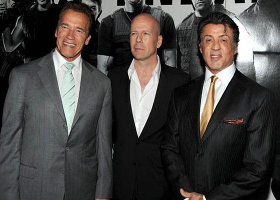 На фото: Арнольд Шварценеггер, Брюс Уиллис и Сильвестр Сталоне