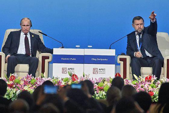 Олег Дерипаска и Владимир Путин в Пекине