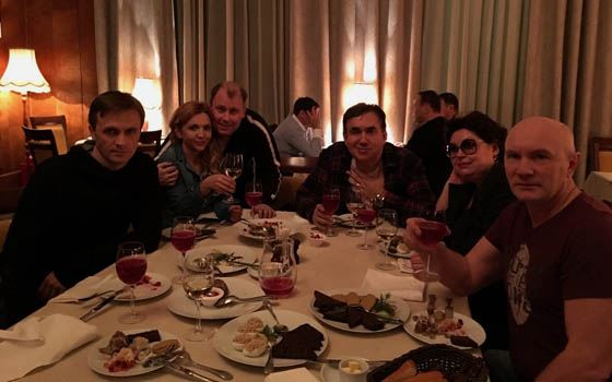 Stanislav Sadalsky came with friends to a restaurant to celebrate a successful premiere