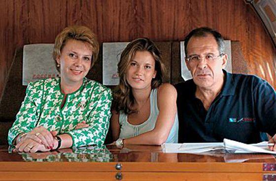 Sergey Lavrov with his wife and daughter