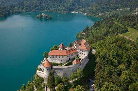 The windows of the Bled Castle offer a gorgeous view of the lake.